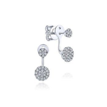 14K White Gold Peek A Boo Circle Diamond Earrings