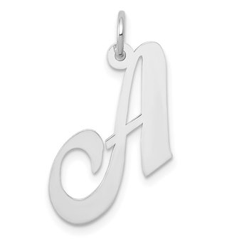 14k White Gold Medium Fancy Script Letter A Initial Charm