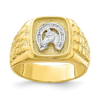 10K Two-Tone Horseshoe with Horse Head Mens Ring