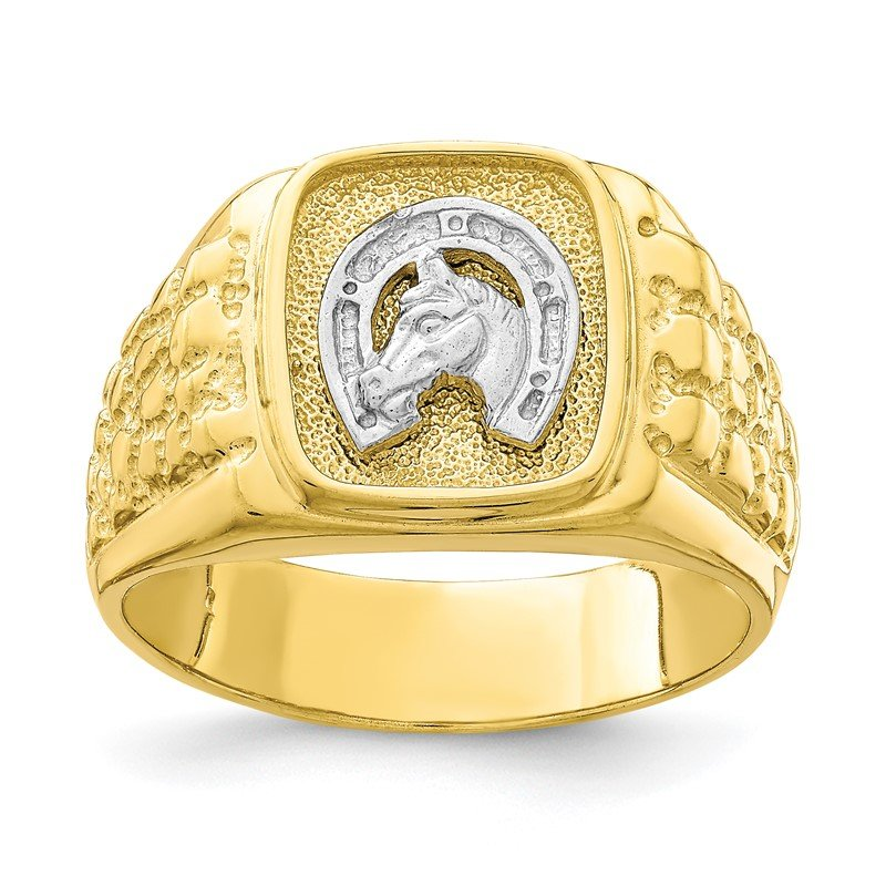 Quality Gold 10K Two-Tone Horseshoe with Horse Head Mens Ring