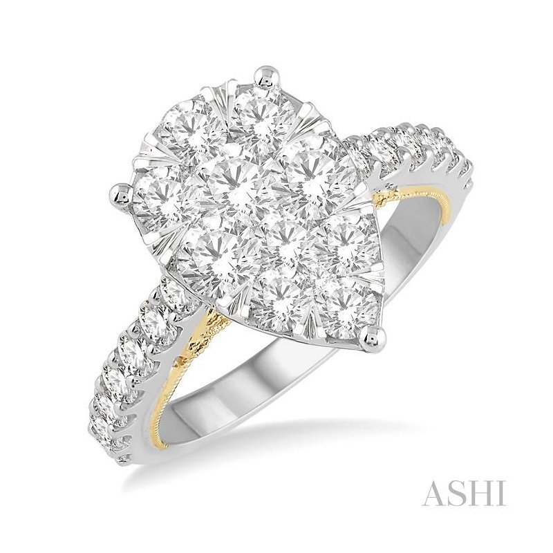 ASHI pear shape lovebright bridal diamond engagement ring