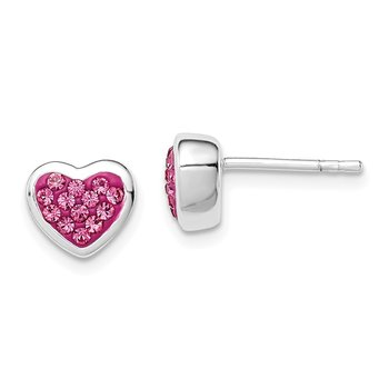 Sterling Silver Pink CZ Heart Post Earrings