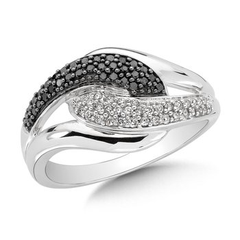 Pave set, Linked Design, Black and White Diamond Fashion Ring in 10k White Gold