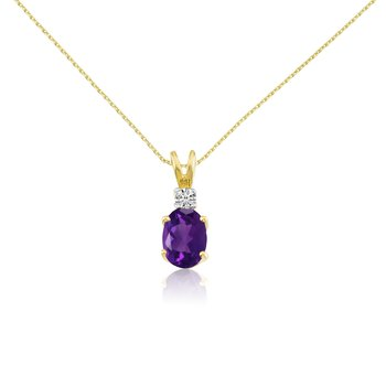 14k Yellow Oval Amethyst and Diamond Pendant
