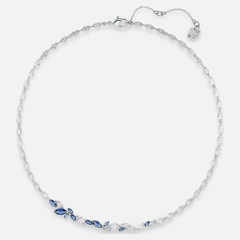 Swarovski Louison Necklace, Blue, Rhodium plated
