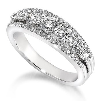 Pave and Prong set Graduated Diamond Anniversary Ring 14k White Gold (1 3/4ct. tw.)