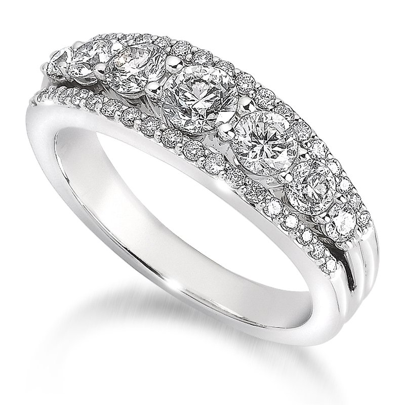 SDC Creations Pave and Prong set Graduated Diamond Anniversary Ring 14k White Gold (1 3/4ct. tw.)