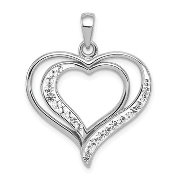Sterling Silver Rhodium-plated Stellux Crystal Double Heart Pendant
