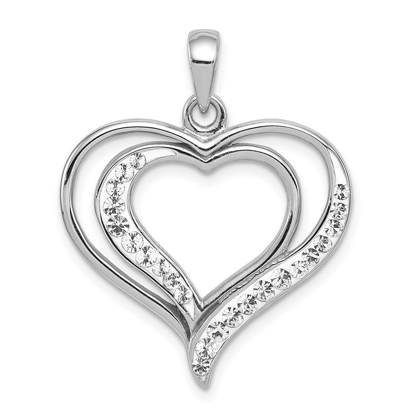 Quality Gold Sterling Silver Rhodium-plated Stellux Crystal Double Heart Pendant