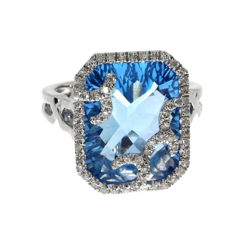 14k White Gold Large Cushion Blue Topaz  and Diamond Ring
