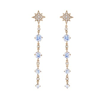 Long Round Moonstone 4-Drop Earrings