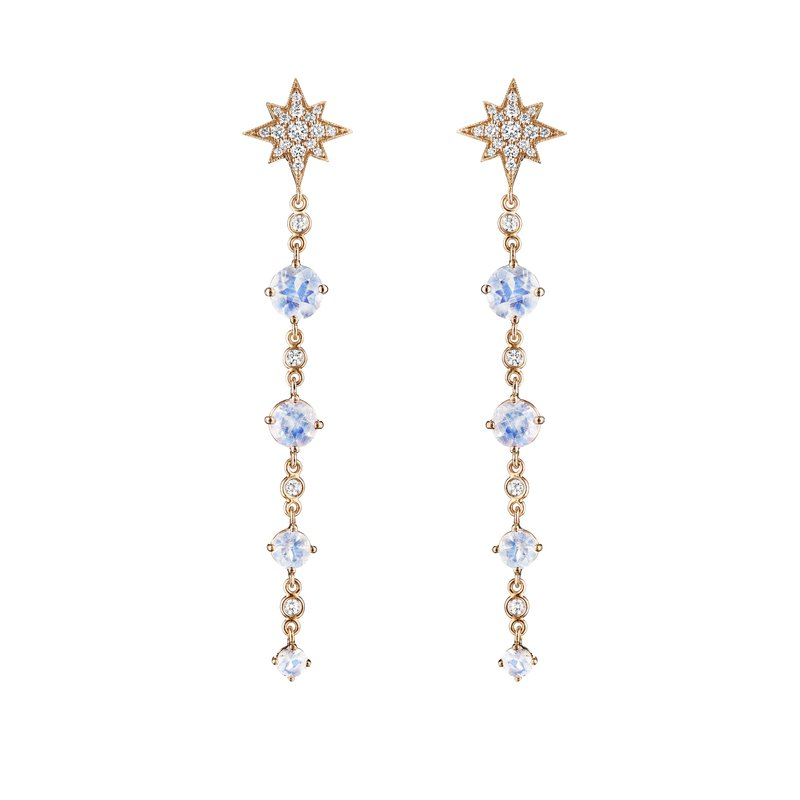 Penny Preville Long Round Moonstone 4-Drop Earrings
