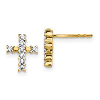 14k White Gold Polished Diamond Cross Post Earrings