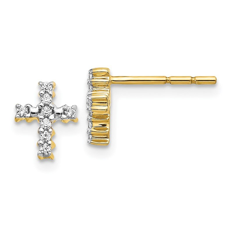 Quality Gold 14k White Gold Polished Diamond Cross Post Earrings