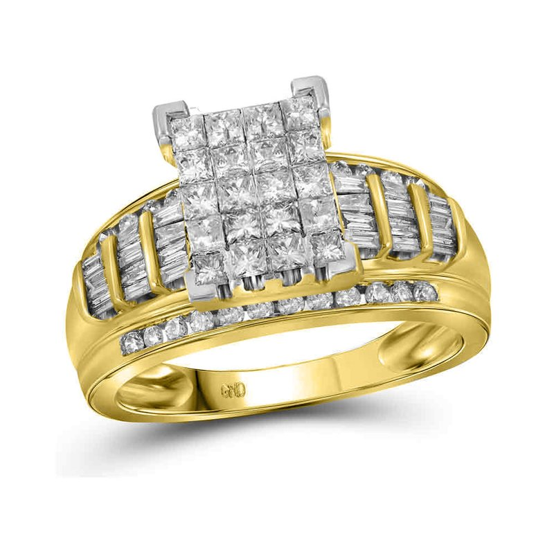 Kingdom Treasures 14kt Yellow Gold Womens Princess Diamond Cluster Bridal Wedding Engagement Ring 2.00 Cttw - Size 10