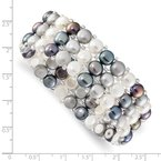 Quality Gold 6-7mm Button FWC Pearl & Glass Beaded 3-row Stretch Bracelet