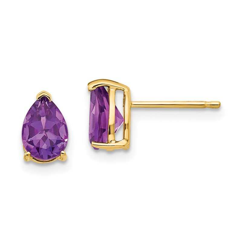 Quality Gold 14k 7x5mm Pear Amethyst Earrings
