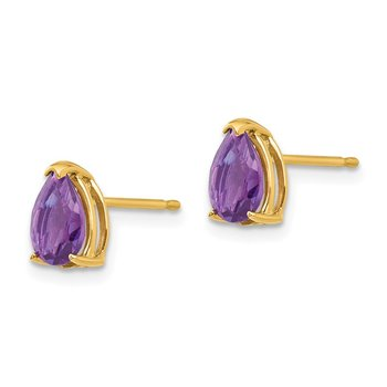 14k 7x5mm Pear Amethyst Earrings