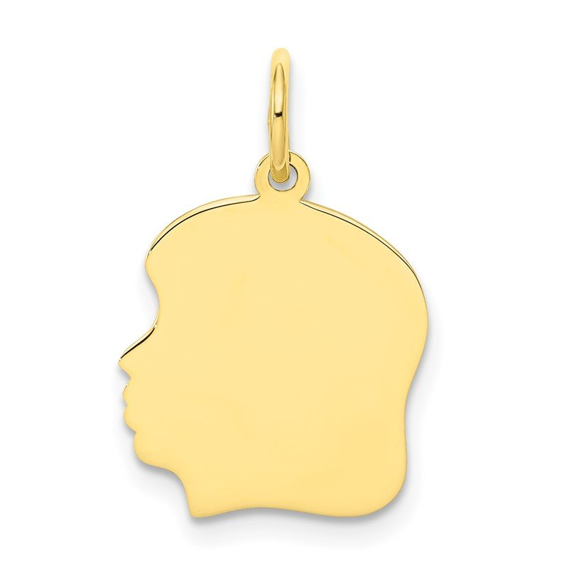 Quality Gold 10K Plain Medium .013 Gauge Facing Left Engravable Girl Head Charm