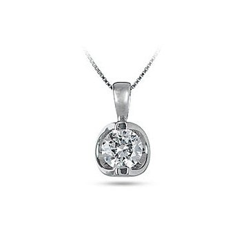 14K WG Diamond 'Moon Shine' Pendant TDW 0.20 Cts