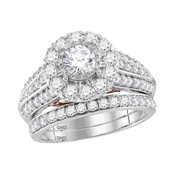 14kt White Gold Womens Round Diamond Bellissimo Bridal Wedding Engagement Ring Band Set 2.00 Cttw