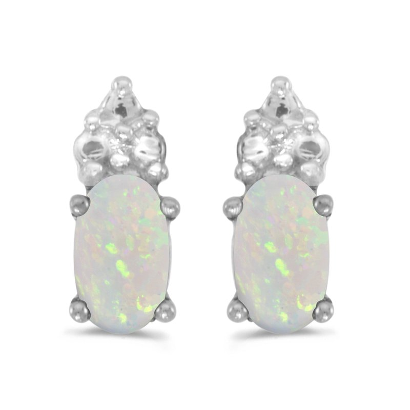 Color Merchants 14k White Gold Oval Opal Earrings