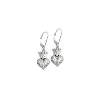 Small 3D Crowned Heart Lever Back Earrings - Silver And Cz Pave.