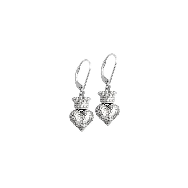 King Baby Small 3D Crowned Heart Lever Back Earrings - Silver And Cz Pave.