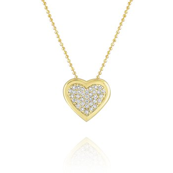 Pavé Diamond Heart Pendant Set in 14 Kt. Gold