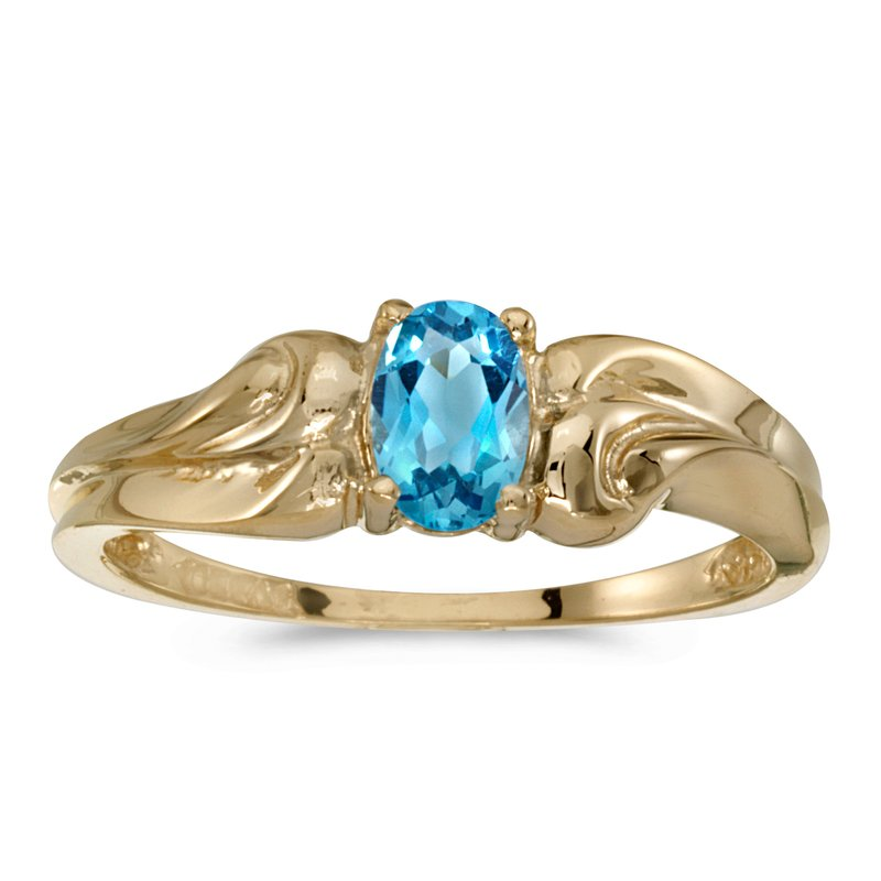 Color Merchants 14k Yellow Gold Oval Blue Topaz Ring