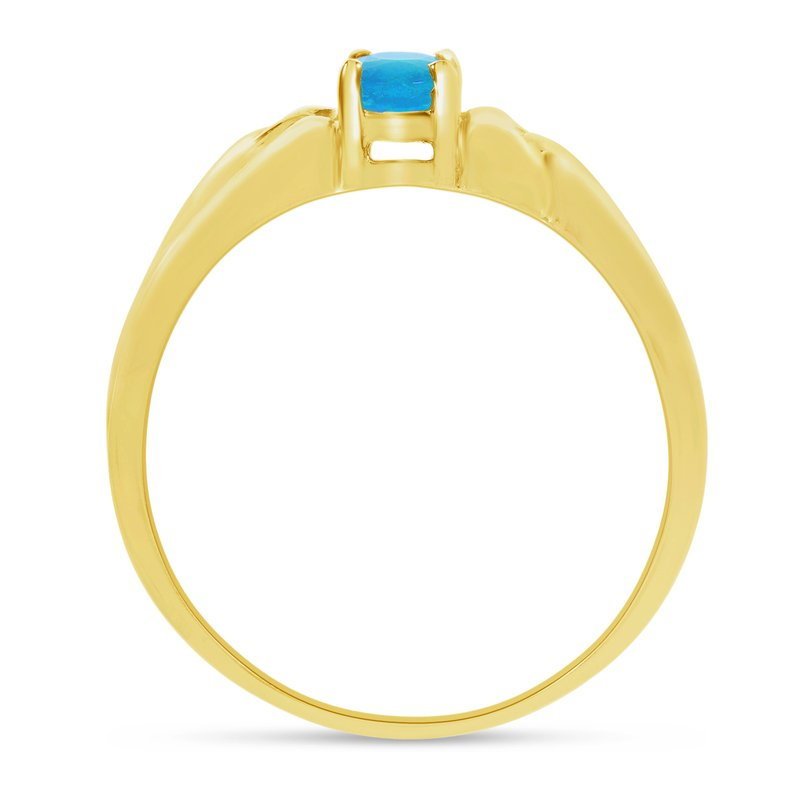 14k Yellow Gold Oval Blue Topaz Ring