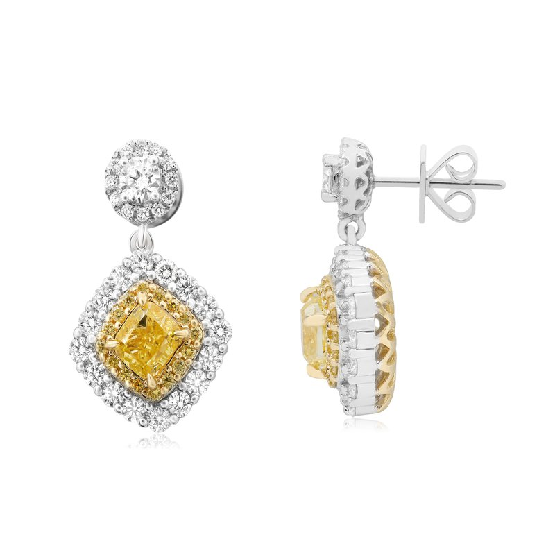 Roman & Jules Fancy Yellow Diamond Drop Earrings