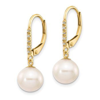 14k 8-9mm White Round FWC Pearl .05ct Diamond Leverback Earrings