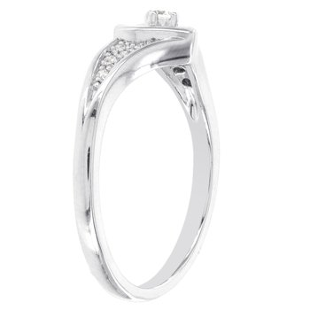 Sterling Silver 1/10ct Diamond Heart Promise Ring