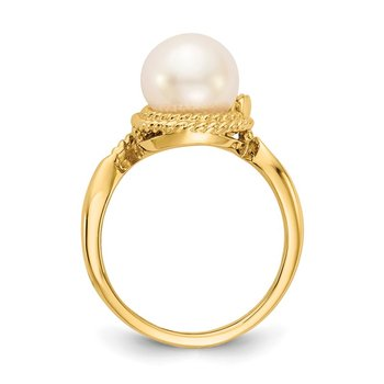 14k 8.5mm FW Cultured Pearl AA Diamond ring