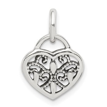 Sterling Silver Antique Heart Charm