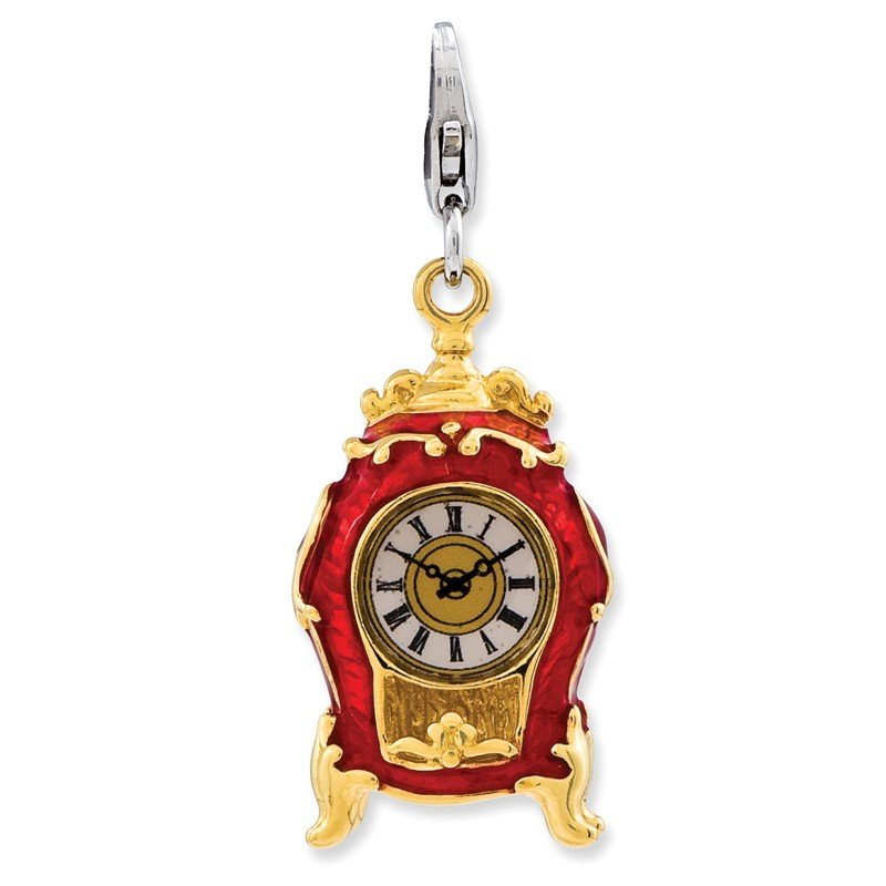 Quality Gold Sterling Silver 3-D Enameled House Clock w/Lobster Clasp Charm