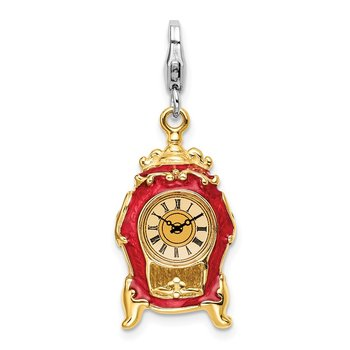 Sterling Silver RH 3-D Enameled House Clock w/Lobster Clasp Charm