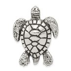 Quality Gold Sterling Silver Antiqued & Textured Turtle Chain Slide Pendant