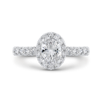 Carizza 14K White Gold Oval Diamond Halo Engagement Ring (Semi-Mount)