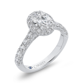 14K White Gold Oval Diamond Halo Engagement Ring (Semi-Mount)