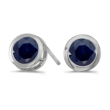 14k White Gold Round Sapphire Bezel Stud Earrings