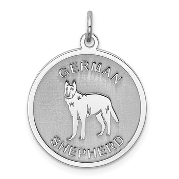 Sterling Silver Rhodium-plated German Shepherd Disc Charm