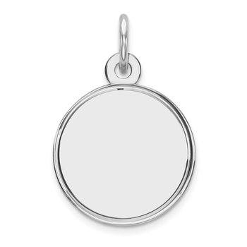 Sterling Silver Rhod-plated Eng. Rnd Polish Front/Satin Back Disc Charm