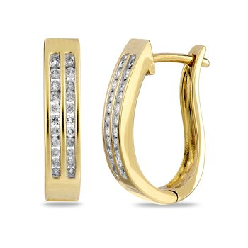 14K YG Diamond 2-Row J-Back Hoop Ear Rings