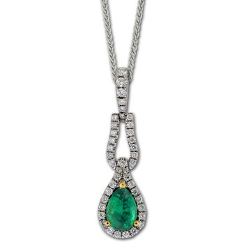 Elongated Emerald & Diamond Pendant