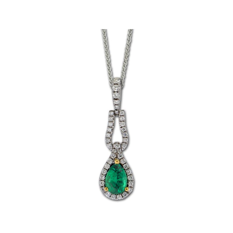 James Breski Elongated Emerald & Diamond Pendant