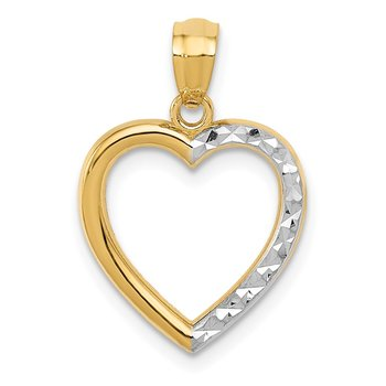 14K w/ Rhodium Polished Diamond-cut Heart Pendant