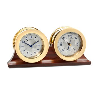 Polaris 12/24 Hour Clock and Barometer on Double Base
