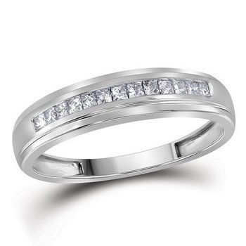 10kt White Gold Womens Princess Diamond Single Row Wedding Band 1/4 Cttw